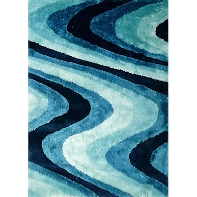 Rug Factory Plus Living Shag Shades of Turquoise Rug; 5' x 7'