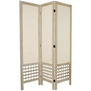 Oriental Furniture 67'' Tall Open Lattice Fabric 3 Panel Room Divider; White