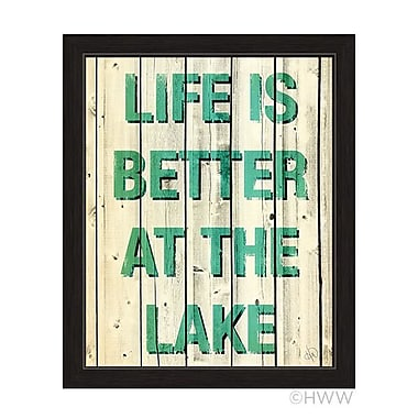 Click Wall Art Life Is Better At The Lake Framed Textual Art in Green; 27'' H x 23'' W
