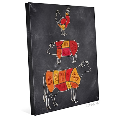 Click Wall Art Parts Of Farm Animals Graphic Art on Wrapped Canvas; 8'' H x 10'' W x 0.75'' D
