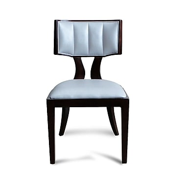 Ceets Regency Genuine Leather Upholstered Dining Chair (Set of 2); Silver