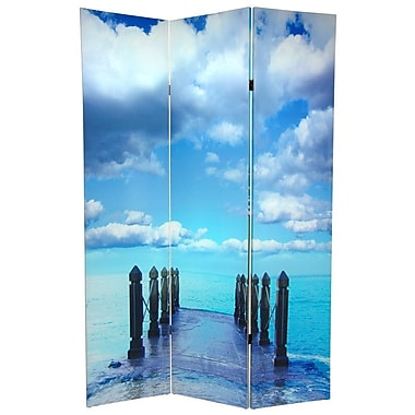 Oriental Furniture 70.88'' x 47'' Double Sided Ocean 3 Panel Room Divider