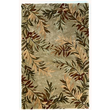 KAS Rugs Sparta Sage Tropical Branches Area Rug; Round 5'6''