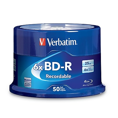 Verbatim BD-R 25GB 6X Discs with Branded Surface, 50 Discs/Spindle