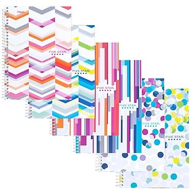 Five StarMD – Cahier de notes à 2 sujets stylisés, 6 po x 9 1/2 po, couleurs variées, 200 pages