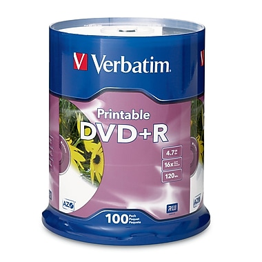 Verbatim DVD+R 4.7GB 16X Discs with White Inkjet Printable Labels, 100 Discs/Spindle