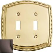 Baldwin Rope Design Double Toggle Switch Plate; Venetian Bronze