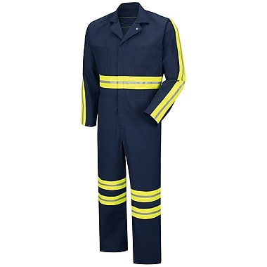 Red Kap Enhanced Visibility Action Back Coverall RG x 52, Navy with Yellow & Green Visibility Trim