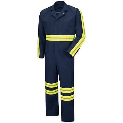 Red Kap Enhanced Visibility Action Back Coverall LN x 44, Navy with Yellow & Green Visibility Trim
