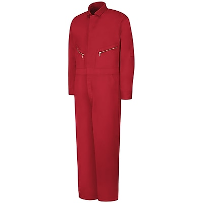 Red Kap Zip-Front Cotton Coverall RG x 44, Red