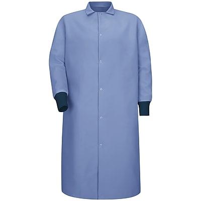 Red Kap Men's Gripper-Front Spun Polyester Pocketless Butcher Coat with Knit Cuffs RG x L, Light blue