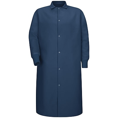 Red Kap Men's Gripper-Front Spun Polyester Pocketless Butcher Coat with Knit Cuffs RG x S, Navy