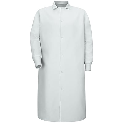 Red Kap Men's Gripper-Front Spun Polyester Pocketless Butcher Coat with Knit Cuffs RG x 4XL, White