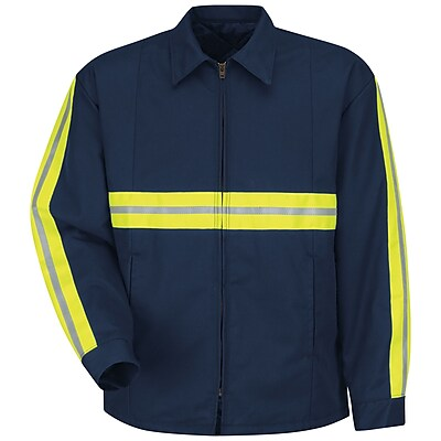 Red Kap Men's Enhanced Visibility Perma-Lined Panel Jacket LN x XXL, Navy