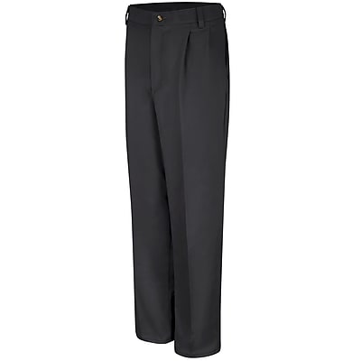 Red Kap Men's Pleated Front Cotton Pant 32 x 37U, Black