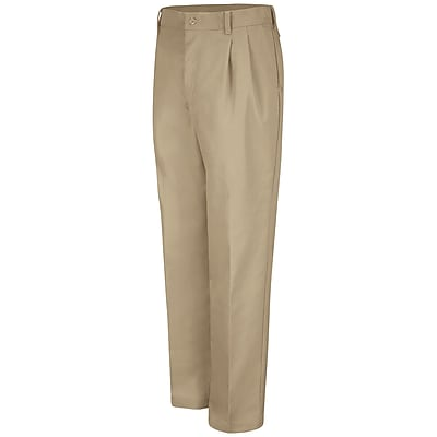 Red Kap Men's Pleated Work Pant 34 x 30, Khaki