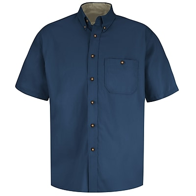 Red Kap Men's Cotton Contrast Dress Shirt SS x S, Navy / stone