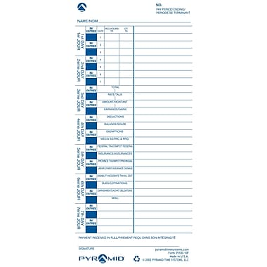 Pyramid™ 35100-10F English/French Time Cards for 3000 Series Time Clocks/Document Stamps, 100/Pack