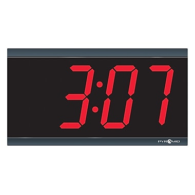 Pyramid™ TimeTrax Sync™ 9D44BR RF Wireless 4-Digit Red LED Wireless Digital Clock