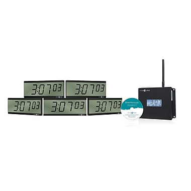 Pyramid™ TimeTrax Sync™ WSCBLD-5 RF Wireless Clocks in a Box LCD Battery-Operated Digital Clock Bundle