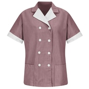 Red Kap Women's Double-Breasted Lapel Tunic RG x L, Burgundy pincord