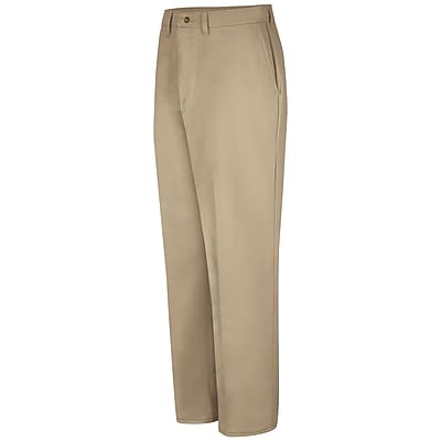Red Kap Men's Plain Front Cotton Pant 36 x 37U, Khaki
