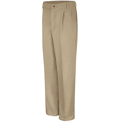 Red Kap Men's Pleated Front Cotton Pant 34 x 37U, Khaki