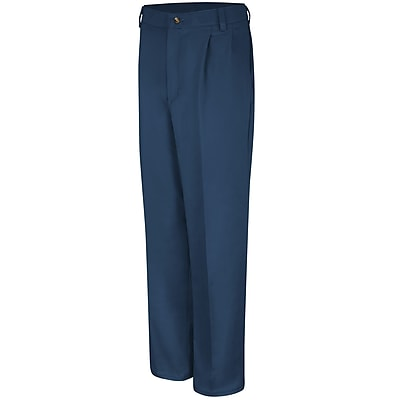 Red Kap Men's Pleated Front Cotton Pant 34 x 37U, Navy