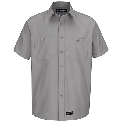 Wrangler Workwear Men's Work Shirt SS x 4XL, Silver grey