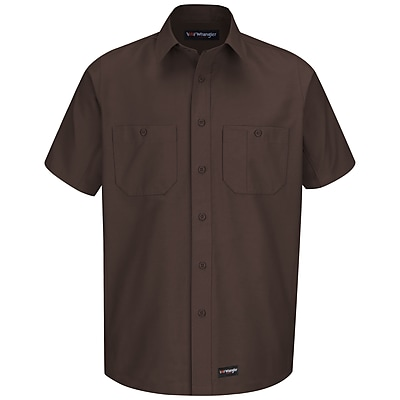 Wrangler Workwear Men's Work Shirt SS x L, Chocolate brown