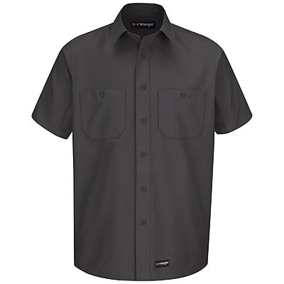 Wrangler Workwear Men's Work Shirt SS x 4XL, Charcoal