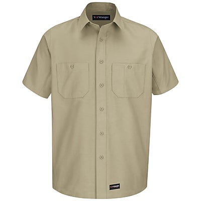 Wrangler Workwear Men's Work Shirt SS x XXL, Khaki