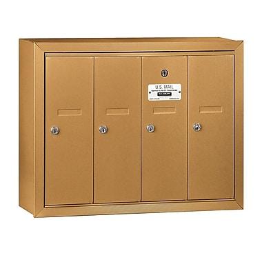 Salsbury Industries 4 Door Front Load Vertical Mail Center; Brass