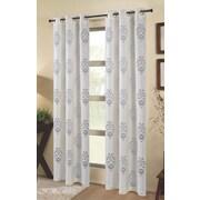 Dainty Home Tulip Damask Semi-Sheer Grommet Curtain panels (Set of 2); Ivory