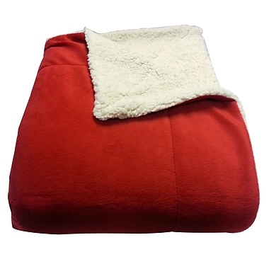 LCM Home Fashions, Inc. Micromink / Sherpa Throw; Red