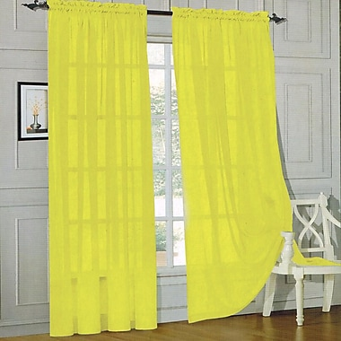Sweet Home Collection Sheer Voile Curtain Panels (Set of 2); Yellow