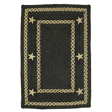 Homespice Decor Texas Star Jute Braided Black Area Rug; 4' x 6'