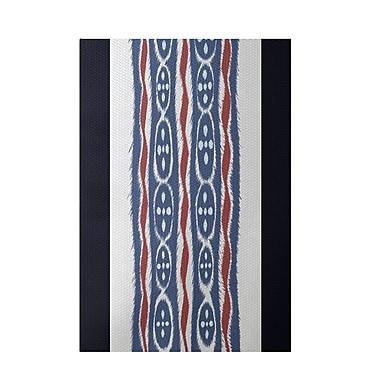 E By Design Stripe Blue Indoor/Outdoor Area Rug; 3' x 5'