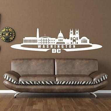 Style and Apply Washington D.C. Skyline Wall Decal; White