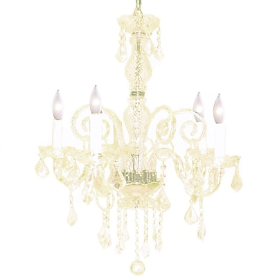 Pangea Home Krystal 5-Light Crystal Chandelier; White