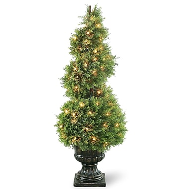 National Tree Co. Pre-Lit Juniper Spiral Topiary in Urn