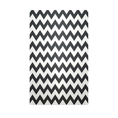 E By Design Chevron Black Indoor/Outdoor Area Rug; 3' x 5'