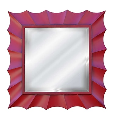 Hickory Manor House Square Sunburst Mirror; Antique Chinese Red