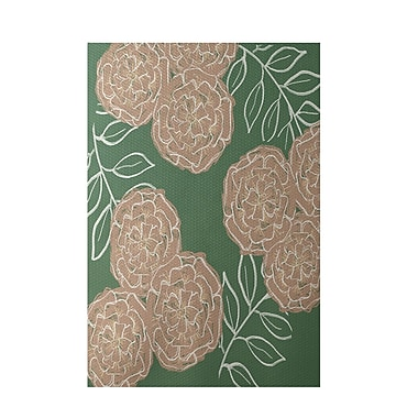 E By Design Floral Green Indoor/Outdoor Area Rug; 3' x 5'