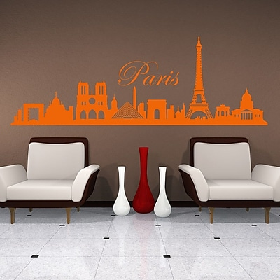 Style and Apply Paris Skyline Wall Decal; Red