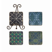 Creative Co-Op Casual Country 5 Piece Resin Coaster Set