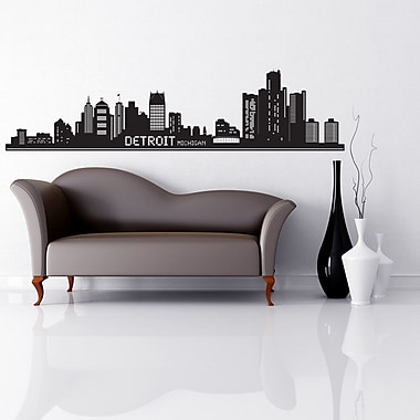 Style and Apply Detroit Skyline Wall Decal; Light Blue