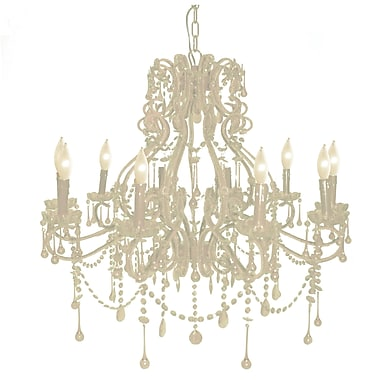 Pangea Home Isabella 10-Light Crystal Chandelier; White