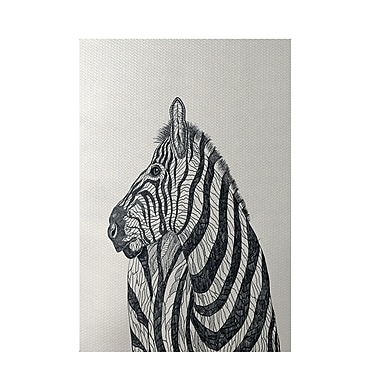 E By Design Zebra Print Off White Indoor/Outdoor Area Rug; Rectangle 3' x 5'