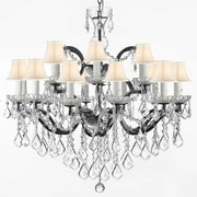 Harrison Lane 18-Light Shaded Chandelier; White